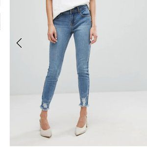 Current Air Skinny Jeans M Ripped Hems Mid Rise